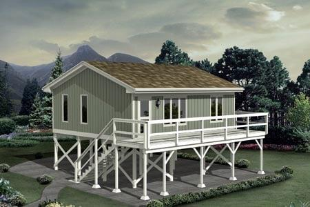 Cabin House Plan 87885 with 1 Beds, 1 Baths Elevation