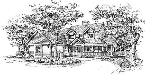Farmhouse House Plan 88175 with 4 Beds, 5 Baths, 2 Car Garage Elevation