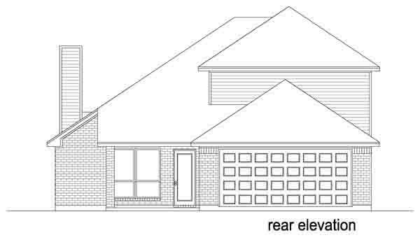 Traditional House Plan 88632 with 4 Beds, 3 Baths, 2 Car Garage Rear Elevation