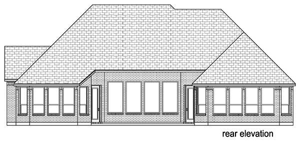 European, Traditional House Plan 88645 with 3 Beds, 3 Baths, 3 Car Garage Rear Elevation