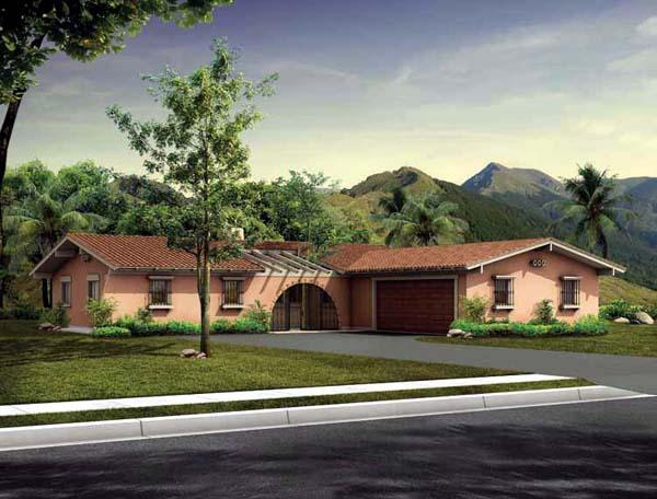 Prairie, Santa Fe, Southwest House Plan 90222 with 3 Beds, 3 Baths, 2 Car Garage Elevation
