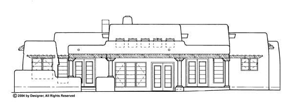 Santa Fe, Southwest House Plan 90259 with 3 Beds, 3 Baths, 2 Car Garage Rear Elevation