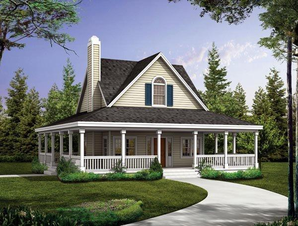 Cottage, Country, Farmhouse, Southern House Plan 90287 with 2 Beds, 3 Baths Elevation