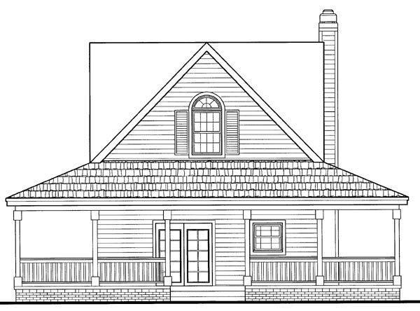 Cottage, Country, Farmhouse, Southern House Plan 90287 with 2 Beds, 3 Baths Rear Elevation