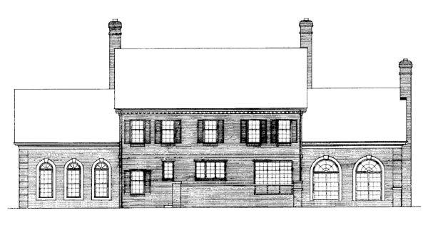 Colonial, Plantation House Plan 90297 with 4 Beds, 3 Baths, 2 Car Garage Rear Elevation