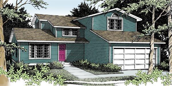 Traditional House Plan 90703 with 4 Beds, 3 Baths, 2 Car Garage Elevation