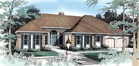 European, Mediterranean, One-Story House Plan 90706 with 4 Beds, 2 Baths, 2 Car Garage Elevation