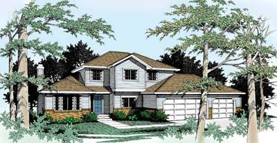 Traditional House Plan 90749 with 4 Beds, 3 Baths, 3 Car Garage Elevation