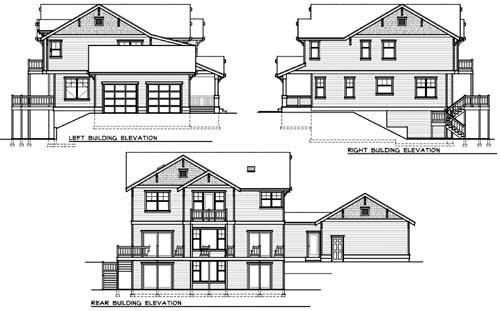 Craftsman House Plan 90757 with 5 Beds, 3 Baths, 2 Car Garage Rear Elevation