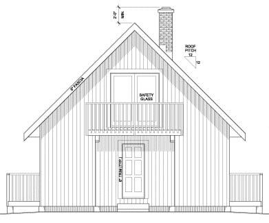 Cabin, Contemporary, Cottage House Plan 90995 with 3 Beds, 1 Baths Rear Elevation