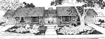 Ranch Multi-Family Plan 91333 with 4 Beds, 2 Baths, 2 Car Garage Elevation