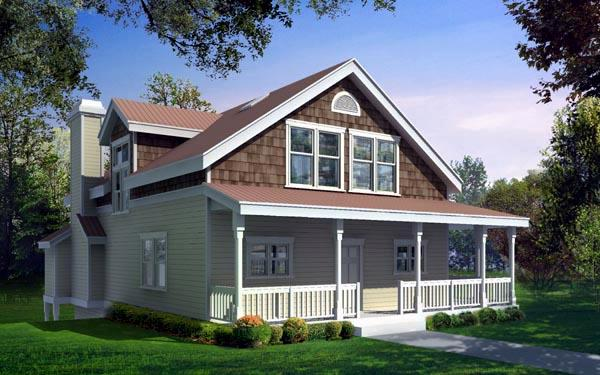 Bungalow, Craftsman, Narrow Lot House Plan 91623 with 5 Beds, 4 Baths, 2 Car Garage Elevation