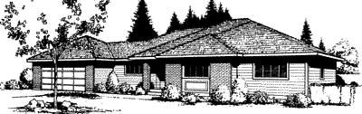 Prairie, Southwest House Plan 91667 with 3 Beds, 2 Baths, 2 Car Garage Elevation