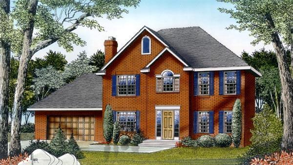 Colonial, Traditional House Plan 91668 with 3 Beds, 3 Baths, 2 Car Garage Elevation