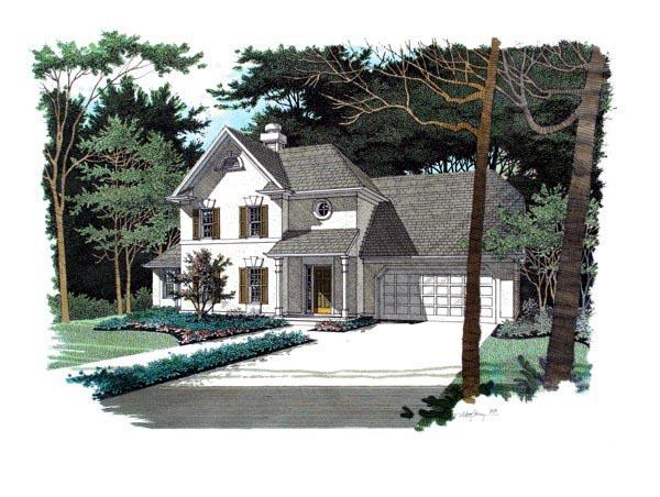 Traditional House Plan 92318 with 3 Beds, 3 Baths, 2 Car Garage Elevation