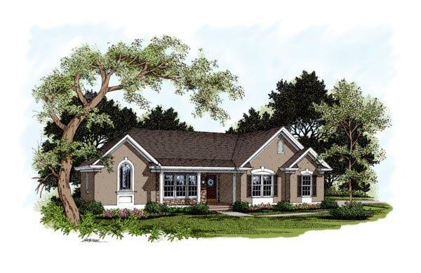 One-Story, Traditional House Plan 92359 with 4 Beds, 3 Baths, 2 Car Garage Elevation