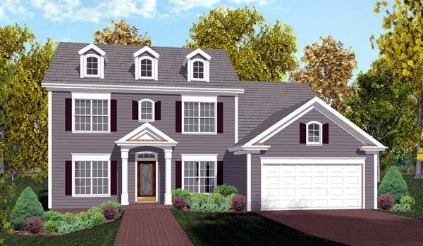 Colonial House Plan 92374 with 4 Beds, 3 Baths, 2 Car Garage Elevation