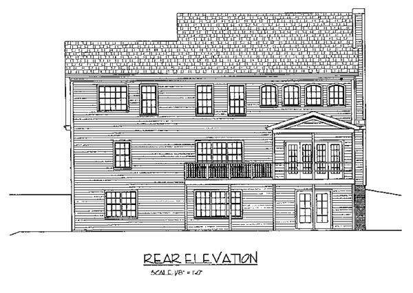 Colonial House Plan 92374 with 4 Beds, 3 Baths, 2 Car Garage Rear Elevation