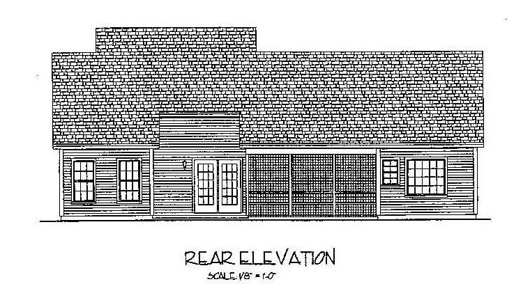 Country, European, Traditional House Plan 92377 with 3 Beds, 2 Baths, 2 Car Garage Rear Elevation
