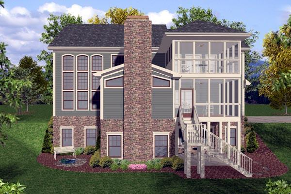Craftsman, Traditional House Plan 92389 with 4 Beds, 4 Baths, 3 Car Garage Rear Elevation