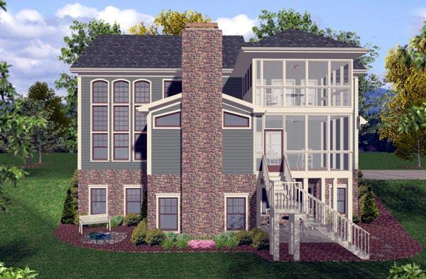 Craftsman, Traditional House Plan 92390 with 4 Beds, 4 Baths, 3 Car Garage Rear Elevation