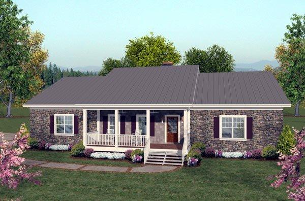 Ranch House Plan 92395 with 2 Beds, 3 Baths, 3 Car Garage Elevation