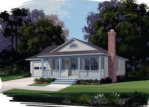 Traditional House Plan 92400 with 3 Beds, 2 Baths, 1 Car Garage Elevation