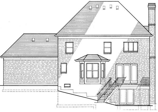 Colonial, European House Plan 92623 with 4 Beds, 3 Baths, 2 Car Garage Rear Elevation