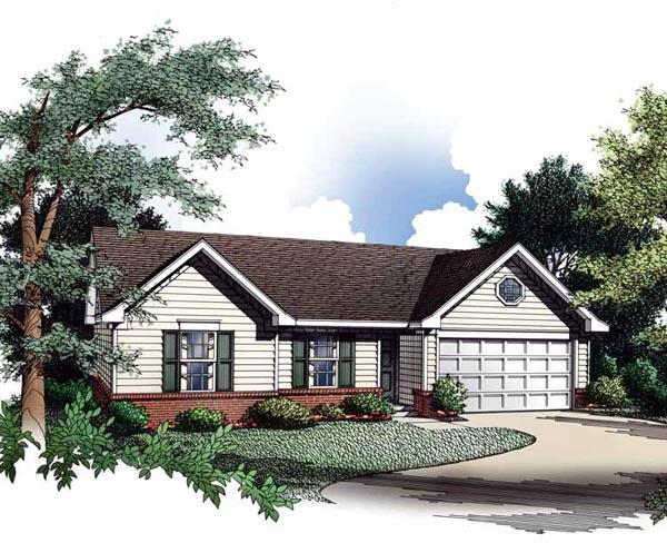 Ranch House Plan 93018 with 3 Beds, 2 Baths, 2 Car Garage Elevation