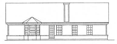 Ranch House Plan 93018 with 3 Beds, 2 Baths, 2 Car Garage Rear Elevation