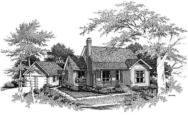 Cabin, Country, One-Story House Plan 93414 with 3 Beds, 2 Baths, 2 Car Garage Elevation