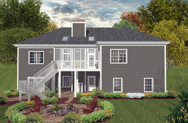 Country, Craftsman, Traditional House Plan 93488 with 3 Beds, 2 Baths, 3 Car Garage Rear Elevation