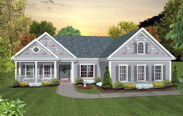 Ranch, Traditional House Plan 93489 with 3 Beds, 2 Baths, 1 Car Garage Elevation
