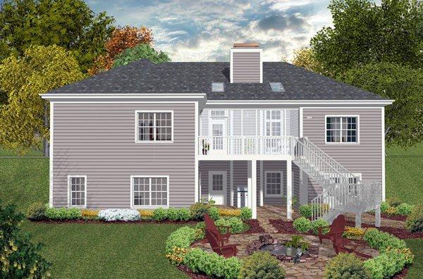 Ranch, Traditional House Plan 93489 with 3 Beds, 2 Baths, 1 Car Garage Rear Elevation