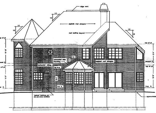 Contemporary, Victorian House Plan 94017 with 4 Beds, 3 Baths, 2 Car Garage Rear Elevation