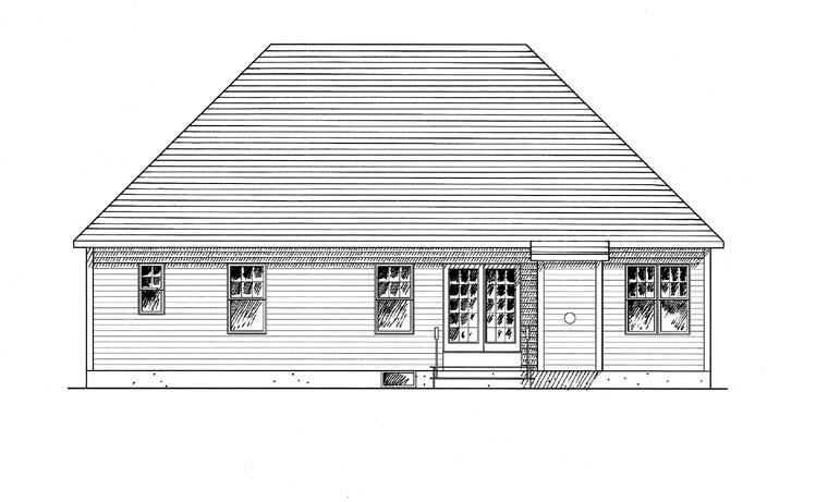 Cape Cod, Coastal, Cottage, Craftsman, Ranch House Plan 94133 with 2 Beds, 2 Baths, 2 Car Garage Rear Elevation