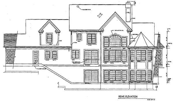 Country House Plan 94176 with 4 Beds, 3 Baths, 3 Car Garage Rear Elevation