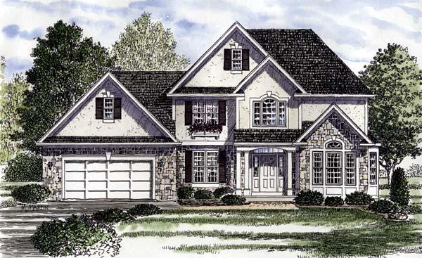 Colonial, European, Tudor House Plan 94180 with 4 Beds, 4 Baths, 2 Car Garage Elevation