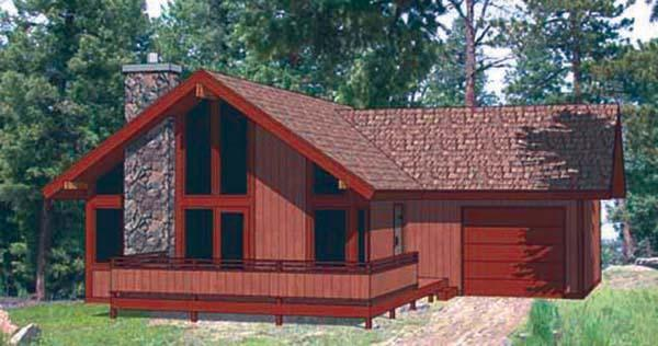 Cabin, Contemporary House Plan 94320 with 2 Beds, 2 Baths, 1 Car Garage Elevation