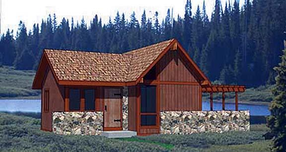 Cabin House Plan 94330 with 1 Beds, 1 Baths Elevation