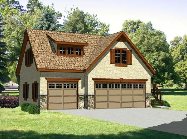 3 Car Garage Apartment Plan 94342 with 1 Beds, 1 Baths Elevation