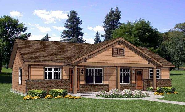 Traditional Multi-Family Plan 94480 with 4 Beds, 2 Baths Elevation