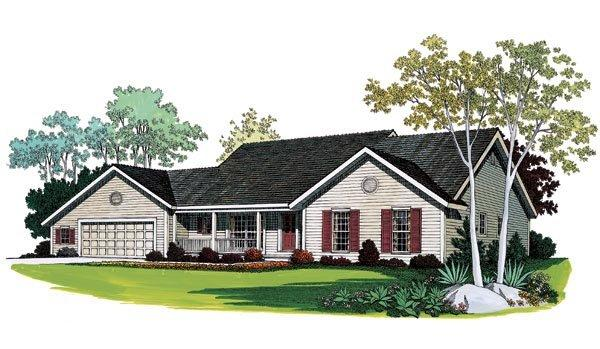 Ranch House Plan 95267 with 3 Beds, 2 Baths, 2 Car Garage Elevation
