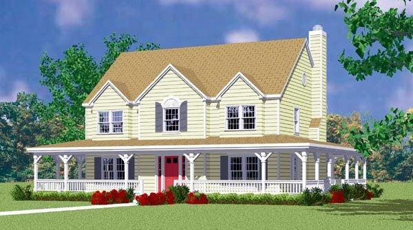 Country, Farmhouse House Plan 95274 with 4 Beds, 3 Baths, 2 Car Garage Elevation