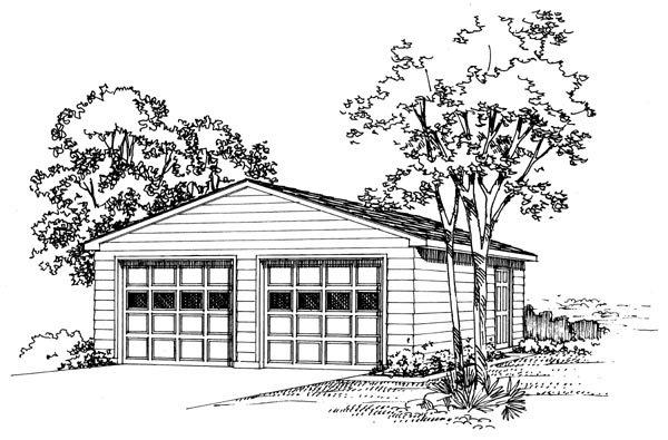 2 Car Garage Plan 95292 Elevation
