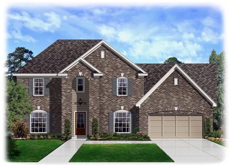 Traditional House Plan 95340 with 4 Beds, 3 Baths, 2 Car Garage Elevation