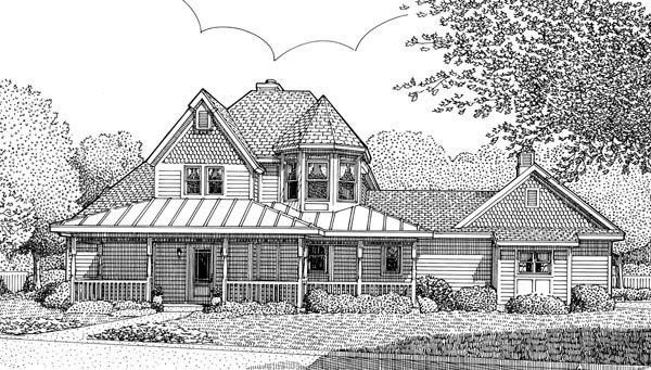 Country, Victorian House Plan 95736 with 3 Beds, 3 Baths, 2 Car Garage Elevation