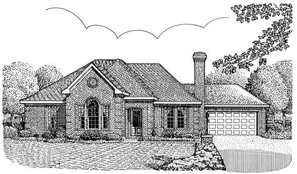 European House Plan 95739 with 3 Beds, 2 Baths, 2 Car Garage Elevation