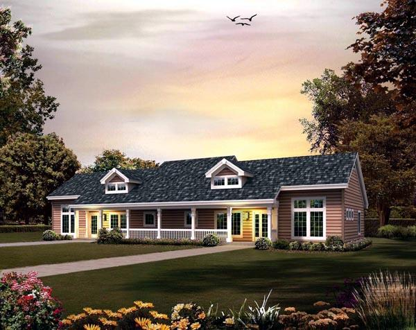 Contemporary, Country, Ranch Multi-Family Plan 95861 with 4 Beds, 2 Baths Elevation