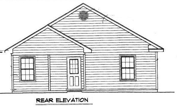 Traditional House Plan 96702 with 2 Beds, 1 Baths Rear Elevation